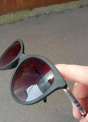 Стильные очки в матовой оправе очки кошки очки лисички дужка в клеточку