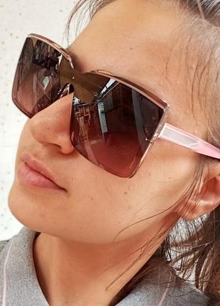 Стильные очки - маска в прозрачной оправе квадратные женские коричневые очки розовые дужки