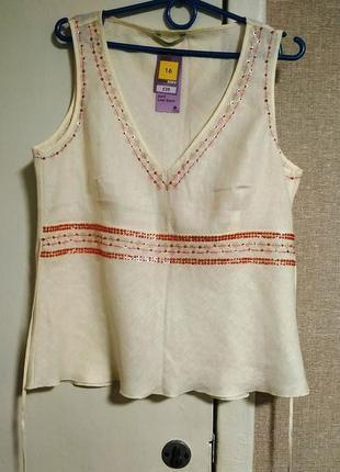 Marks & spencer замечательный новый! льняной топ/блузка большого размера