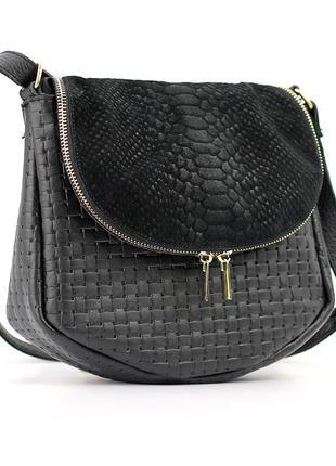 Кожаная маленькая женская замшевая сумка через плечо кроссбоди