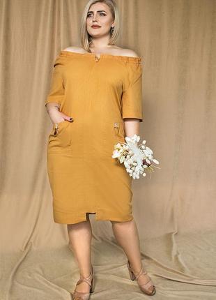 Платье летнее льняное свободного силуэта