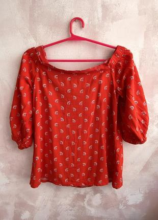 Блуза топ объемные рукава, открытые плечи