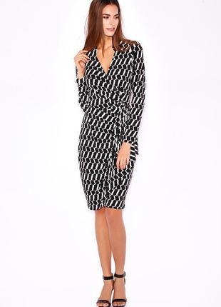 Wallis платье чёрное белое в принт миди с поясом на запах по фигуре карандаш футляр