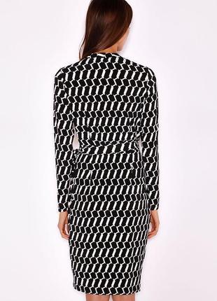 Wallis платье чёрное белое в принт миди с поясом на запах по фигуре карандаш футляр3 фото