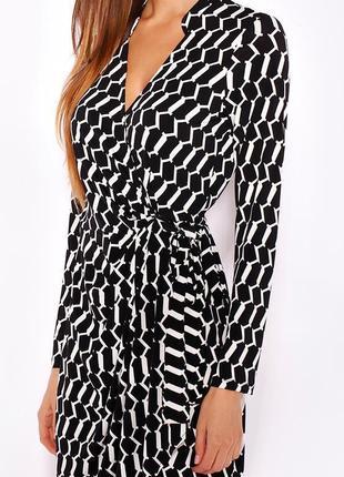 Wallis платье чёрное белое в принт миди с поясом на запах по фигуре карандаш футляр4 фото