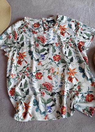 Нежная невесомая натуральная блуза с цветочным принтом