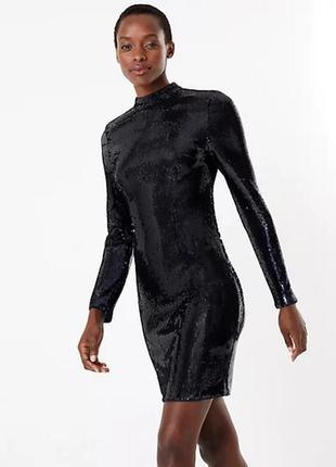 Marks spencer платье синее с пайетками длинный рукав миди новое по фигуре вырез на спине