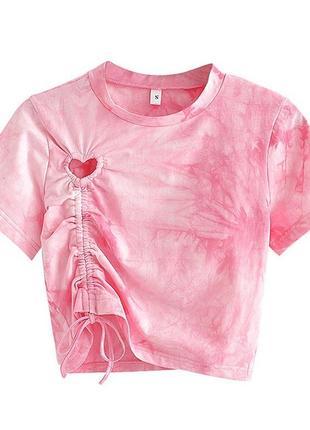 Розовая футболка, футболка с кулиской , тай дай , футболка с сердечком