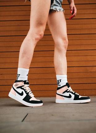 Женские высокие кроссовки розовые nike jordan 1 под любой стиль
