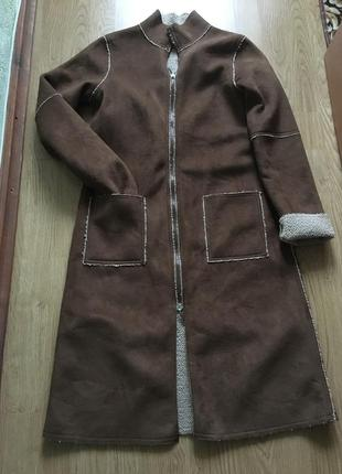 Шикарное пальто- дубленка под овчину