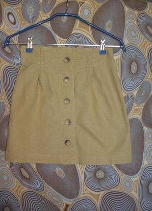 Короткая мини юбка на пуговицах topshop лен вискоза