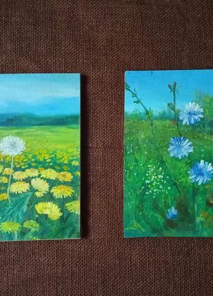 Пара маленьких картин масляная живопись