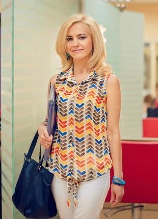 Яскрава жіноча літня блуза без рукавів 36 яркая женская летняя блузка на пуговицах завязках с узлом