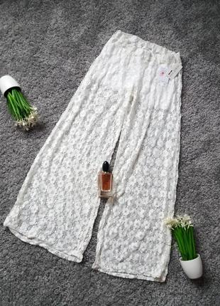 Гіпюрові штани палаццо з шортиками 44-46р