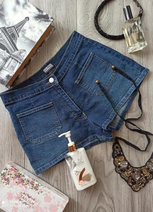 Шорти джинсові з високою посадкою