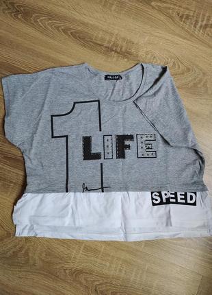 Стильная и лёгкая укороченная футболка s-xl (маломерит)