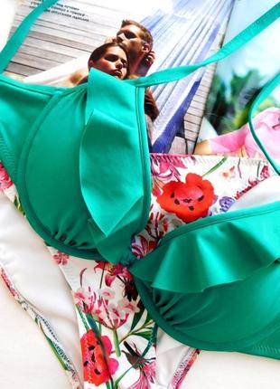 Раздельный купальник лиф пуш ап и плавки бикини цветочный принт на завязках от h&m