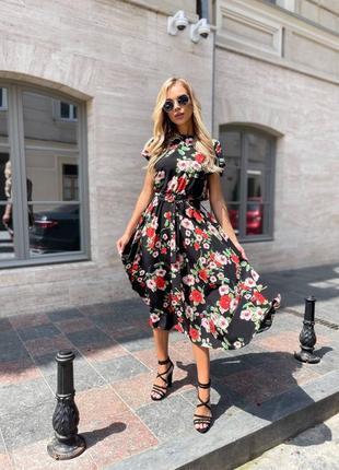 Летнее платье длинное принт цветочек однотонные женские одежда купить новое недорого лето море размер
