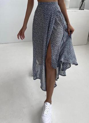 Нереальная цветочная миди юбка на запах