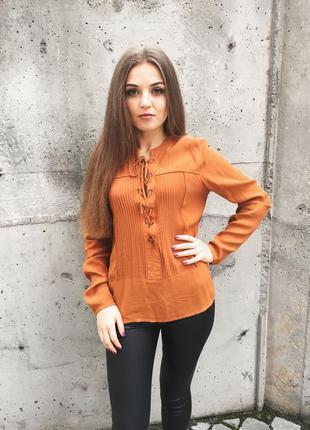 Крутая оранжевая блуза vila / бузка сорочка рубашка оранжева