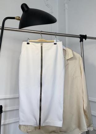 Хлопковая, белая  юбка-миди