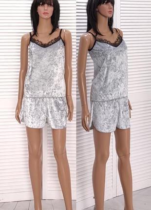 Пижама велюровая майка и шорты с кружевом велюр мраморный кружево