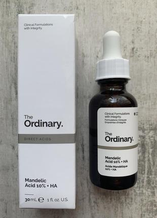 Легкий пилинг с миндальной кислотой the ordinary mandelic acid 10% + ha