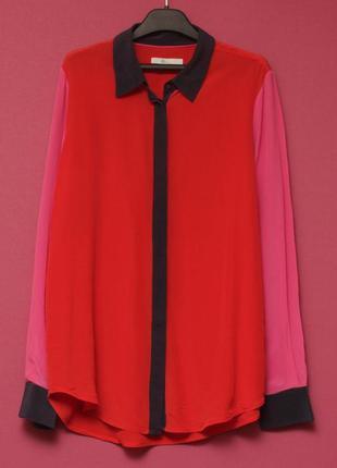 Boden uk 12 m-l рубашка из шелка в стиле колор блок шелковая рубашка