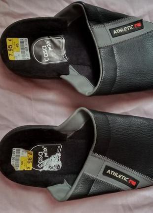 Тапочки мужские шлепанцы 45 размер athletic кожзам