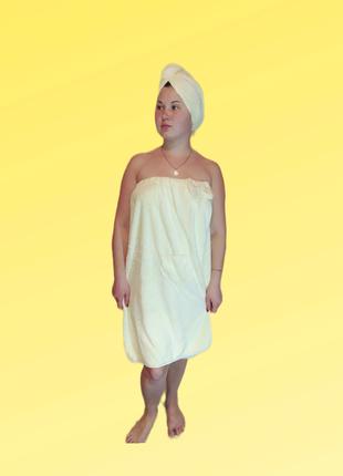 Акция! комплект полотенец.полотенце-халат. для сушки волос.