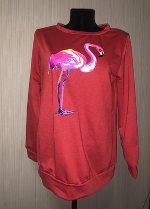 Красный свитшот с фламинго