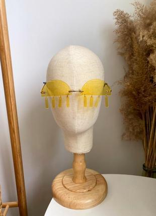 Жёлтые очки на рейв с подвесками-пирсинг пластиковые женские/мужские унисекс2 фото