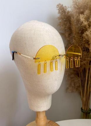 Жёлтые очки на рейв с подвесками-пирсинг пластиковые женские/мужские унисекс3 фото