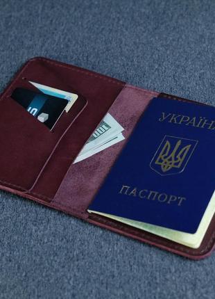 Кожаная бордовая обложка для паспорта и билетов из натуральной кожи итальянский краст