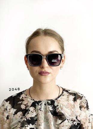 Сонцезахисні окуляри aras polarized чорні лінзи з білими дужками к. 2048