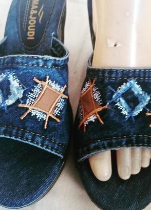 Шльопанці жіночі джинсові, сині, підходить для жінок з «проблемними ногами» легкі, гарно виглядають