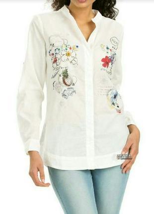 Женская белая блуза рубашка desigual