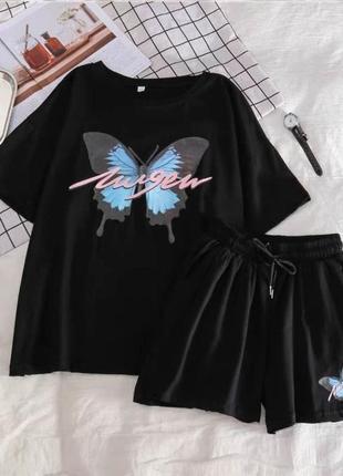 Летний костюм шорты и футболка обьемная с принтом с бабочкой