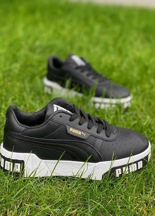 Кожаные кеды puma cali black / withe женские кроссовки, жіночі кеди