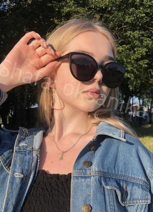 Чёрные матовые солнцезащитные солнечные очки лисички кошки, темні сонячні сорні окуляри від сонця