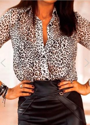 Шелковая леопардовая блуза рубашка с кружевом хищный принт премиум бренд