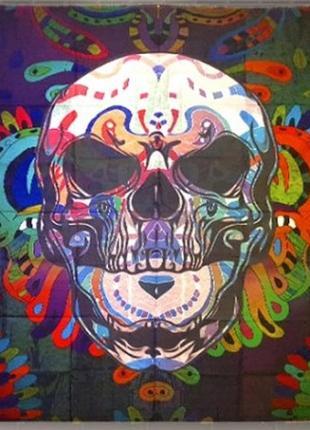 Картина на ткани гобелен настенный череп транс