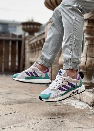 Новинка кроссовки унисекс adidas tresc run white violet наложка