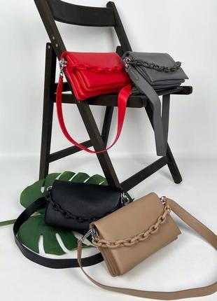 Женская кожаная сумка на и через плечо серая чёрная красная бежевая полина polina & eiterou жіноча шкіряна чорна