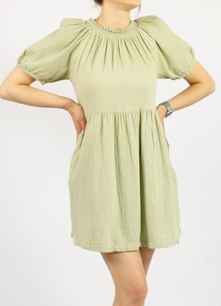 Женское летнее повседневное платье зеленое короткий рукав universal thread m s