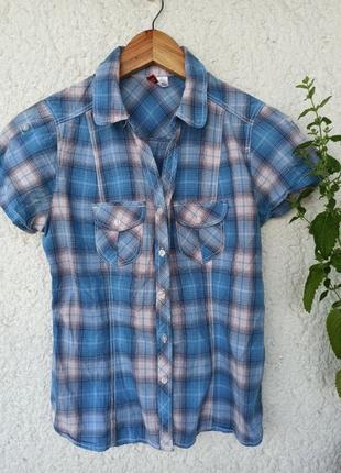 Рубашка divided от h&m сорочка женская в клетку синяя хлопок
