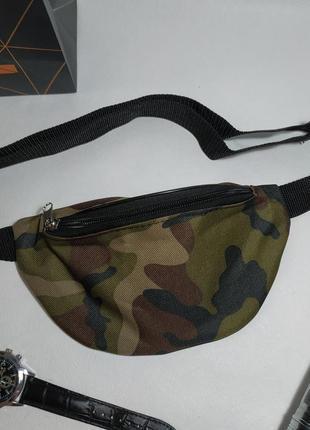 Молодежная сумка бананка, поясная плечевая сумка с камуфляжным принтом