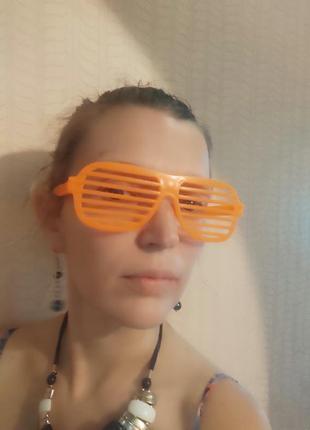Крутые дискотечные очки ярко розовая полоска