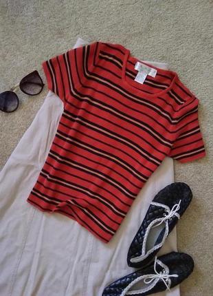 Шелковая полосатая вязанная футболка тельняшка