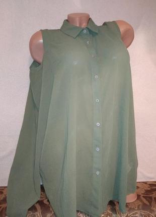 Шикарная блуза хаки с открытыми плечами 52/54р